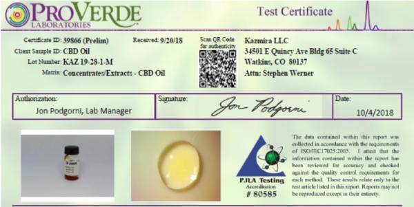 Kazmira Test Certificate
