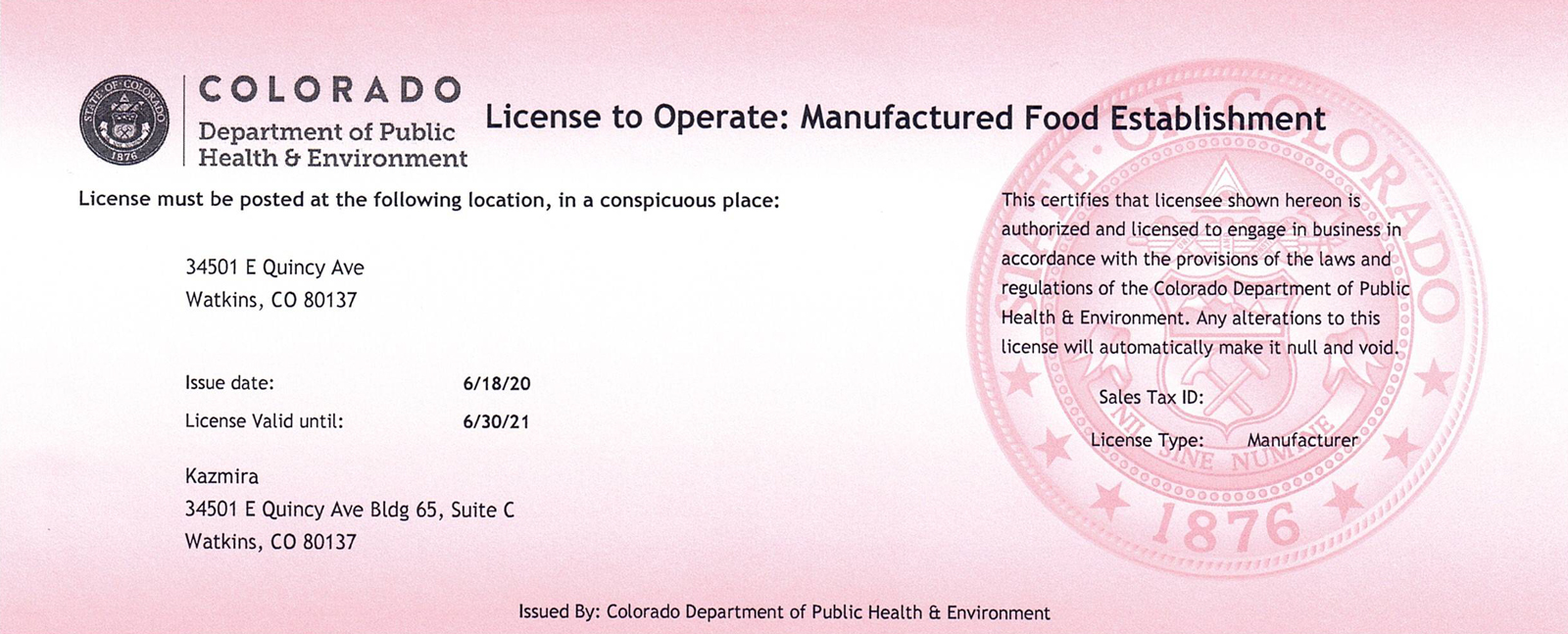Kazmira CDPHE License