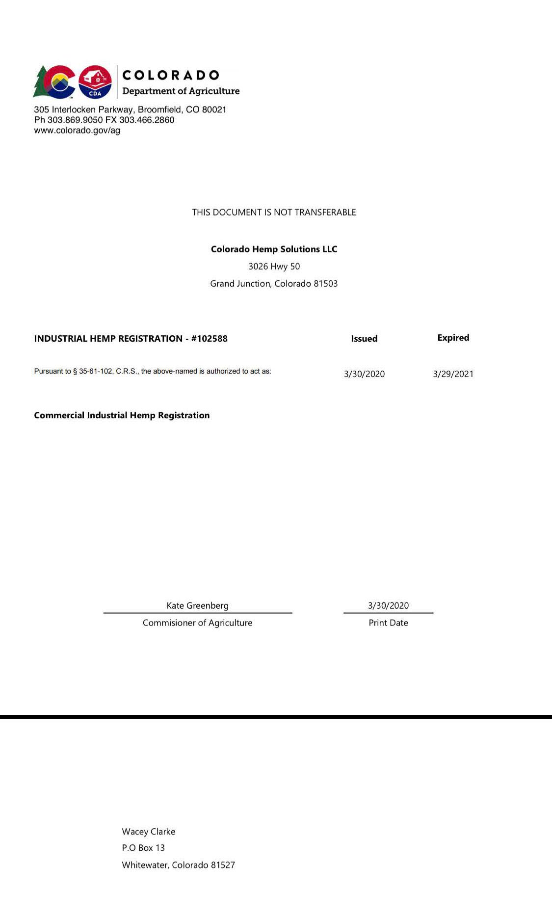 CBD Industrial Hemp Registration